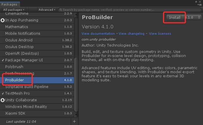 1. Install ProBuilder